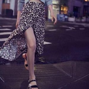 Urban Outfitters Skirts - Leopard Button Midi Skirt UO